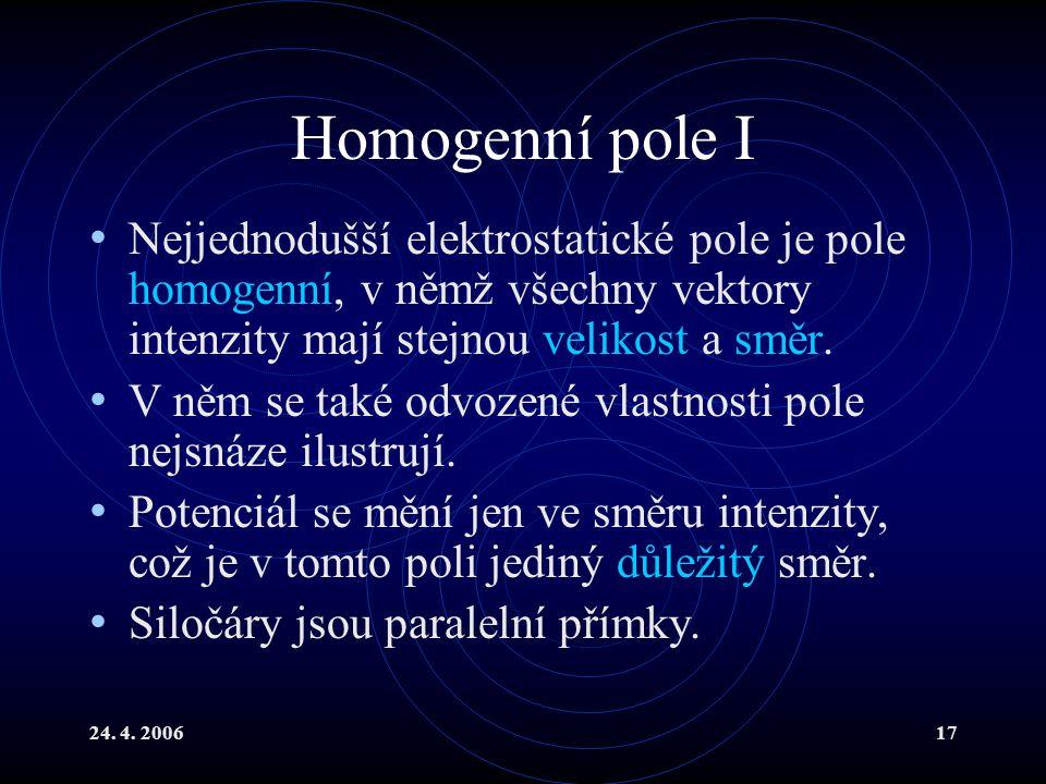 Homogenní pole I Nejjednodušší elektrostatické pole je pole homogenní, v němž všechny vektory intenzity mají stejnou velikost a směr.