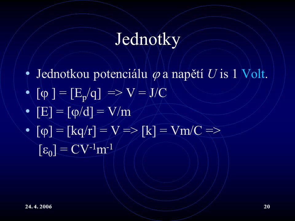 Jednotky Jednotkou potenciálu  a napětí U is 1 Volt.