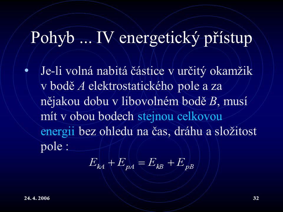Pohyb ... IV energetický přístup