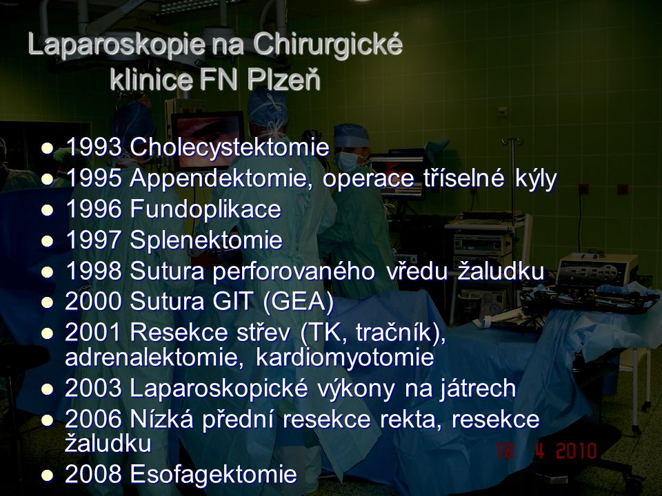 Laparoskopie na Chirurgické klinice FN Plzeň