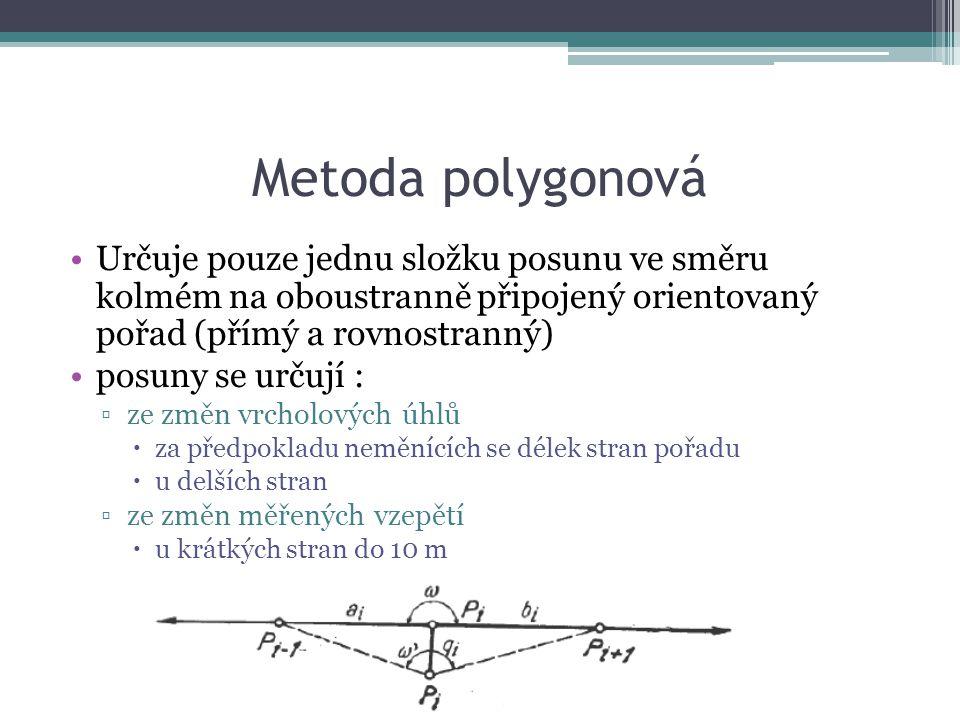 Metoda polygonová Určuje pouze jednu složku posunu ve směru kolmém na oboustranně připojený orientovaný pořad (přímý a rovnostranný)