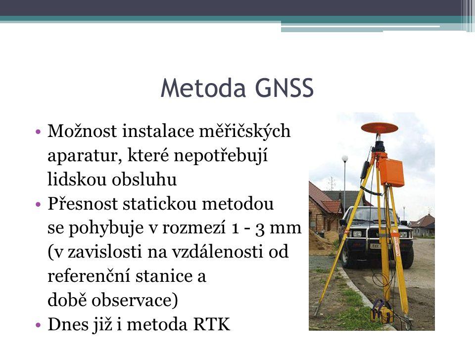 Metoda GNSS Možnost instalace měřičských aparatur, které nepotřebují