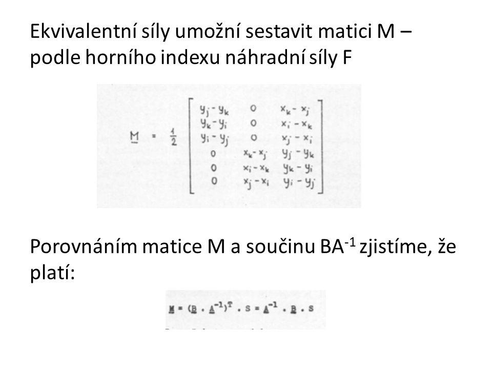 Ekvivalentní síly umožní sestavit matici M – podle horního indexu náhradní síly F Porovnáním matice M a součinu BA-1 zjistíme, že platí: