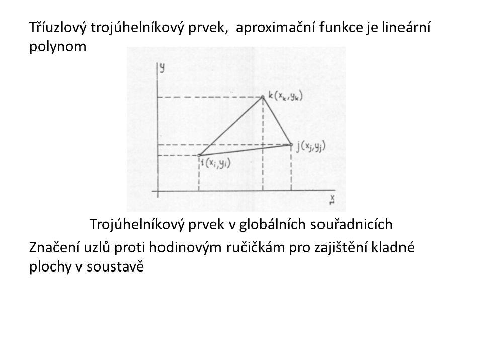 Tříuzlový trojúhelníkový prvek, aproximační funkce je lineární polynom Trojúhelníkový prvek v globálních souřadnicích Značení uzlů proti hodinovým ručičkám pro zajištění kladné plochy v soustavě