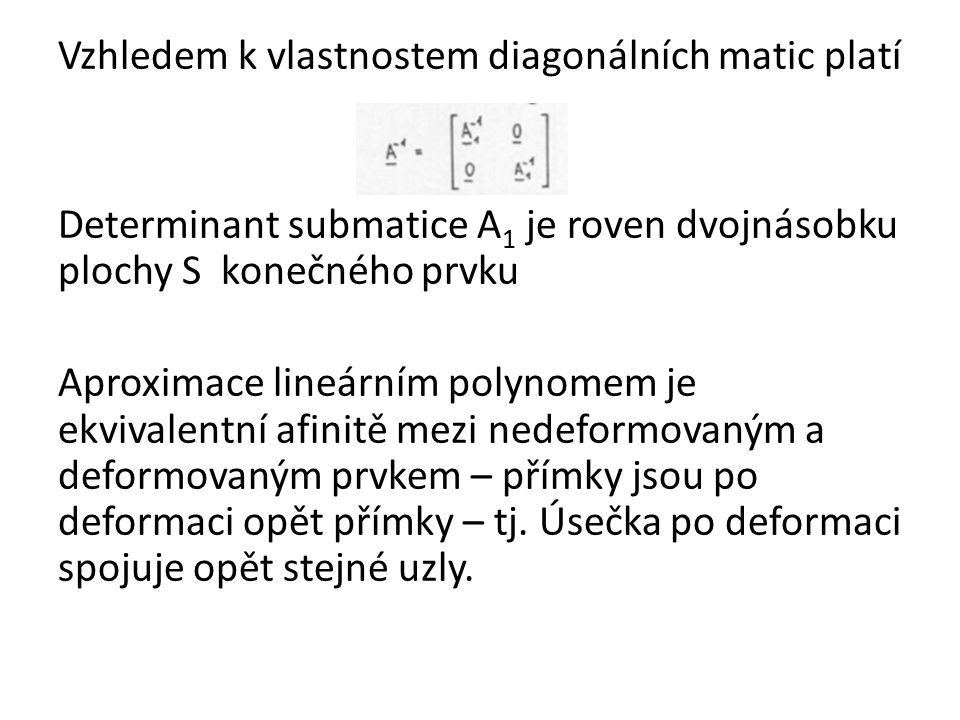 Vzhledem k vlastnostem diagonálních matic platí Determinant submatice A1 je roven dvojnásobku plochy S konečného prvku Aproximace lineárním polynomem je ekvivalentní afinitě mezi nedeformovaným a deformovaným prvkem – přímky jsou po deformaci opět přímky – tj.