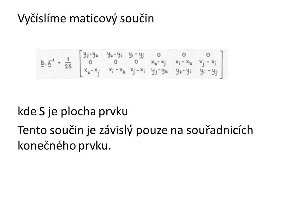 Vyčíslíme maticový součin kde S je plocha prvku Tento součin je závislý pouze na souřadnicích konečného prvku.