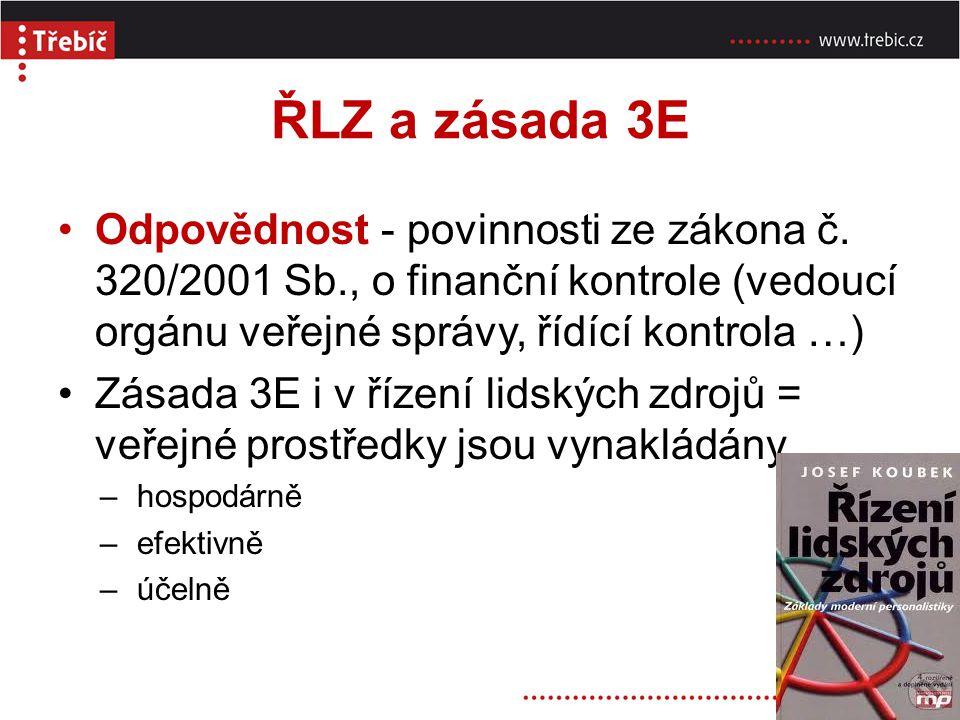ŘLZ a zásada 3E Odpovědnost - povinnosti ze zákona č. 320/2001 Sb., o finanční kontrole (vedoucí orgánu veřejné správy, řídící kontrola …)