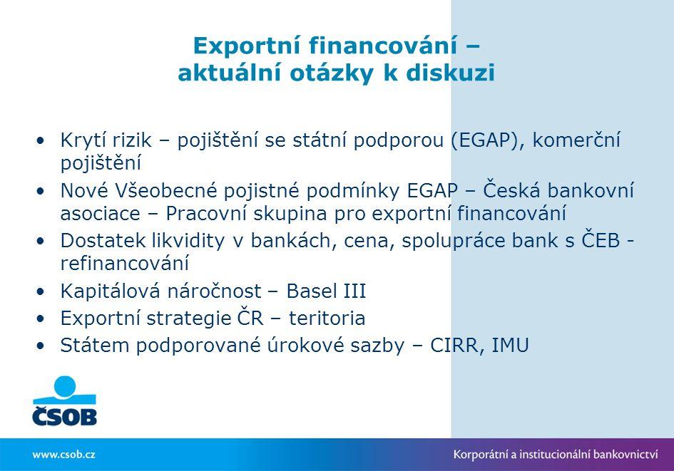 Exportní financování – aktuální otázky k diskuzi