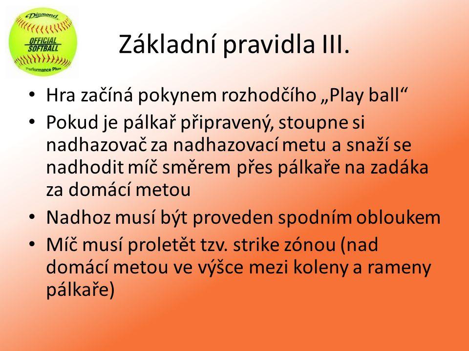 """Základní pravidla III. Hra začíná pokynem rozhodčího """"Play ball"""