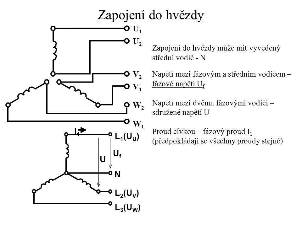 Zapojení do hvězdy U1 U2 V2 V1 W2 W1 I1 L1(UU) Uf U N L2(UV) L3(UW)
