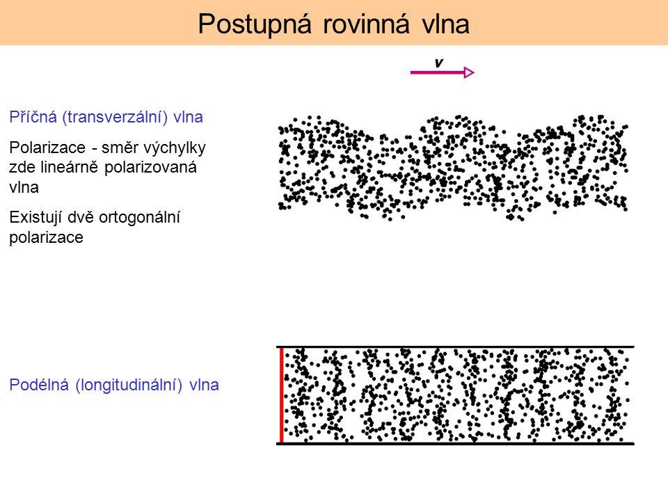 Postupná rovinná vlna Příčná (transverzální) vlna