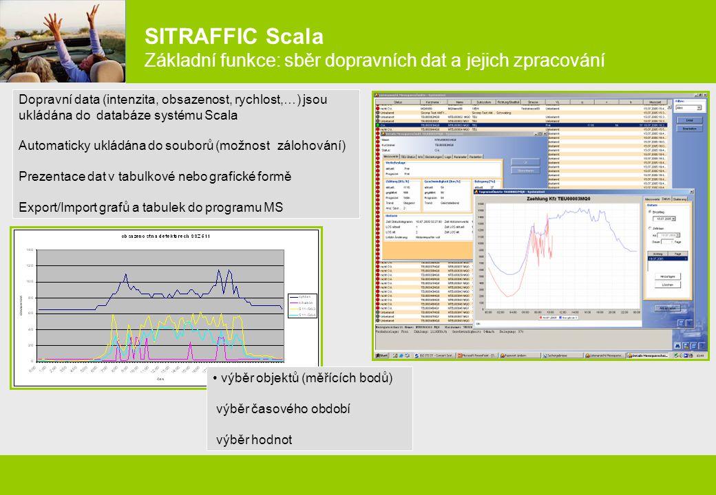 SITRAFFIC Scala Základní funkce: sběr dopravních dat a jejich zpracování