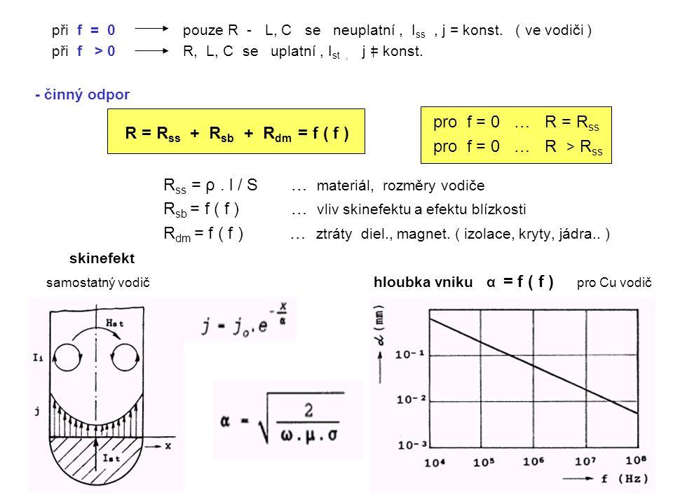Rss = ρ . l / S … materiál, rozměry vodiče