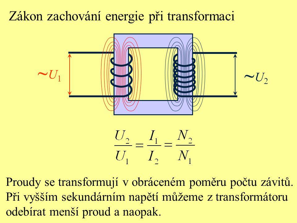 ~U1 ~U2 Zákon zachování energie při transformaci