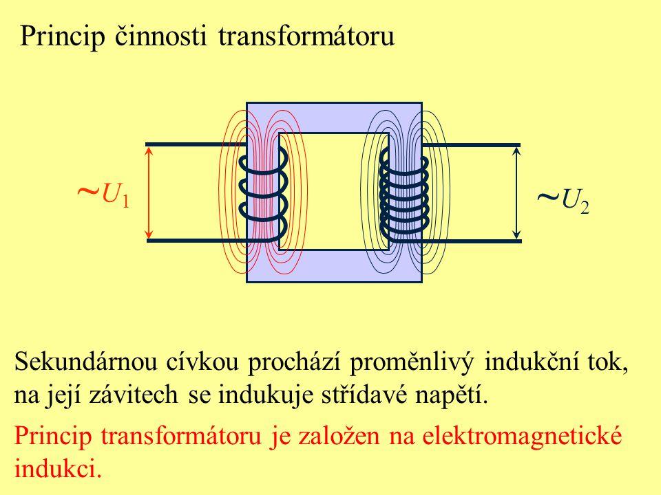~U1 ~U2 Princip činnosti transformátoru