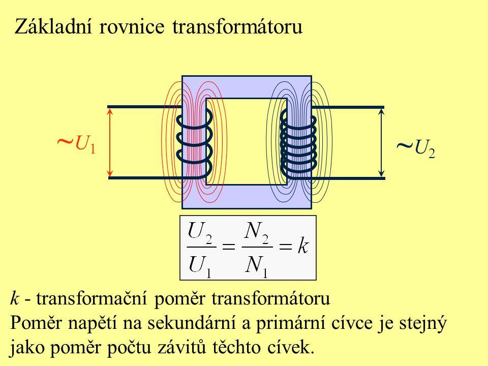 ~U1 ~U2 Základní rovnice transformátoru