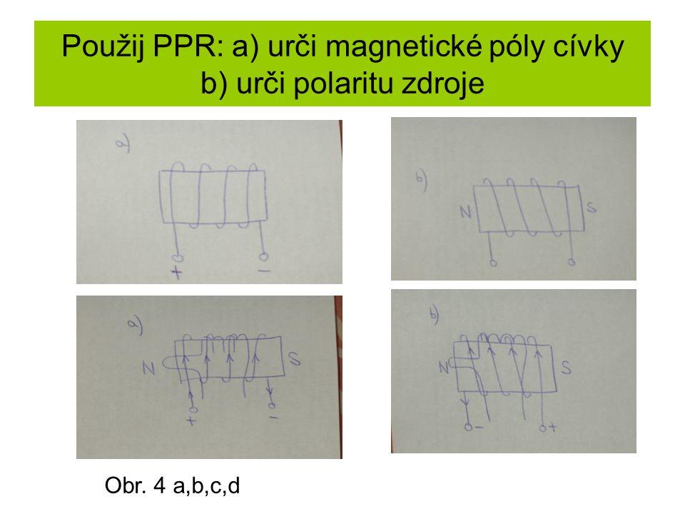 Použij PPR: a) urči magnetické póly cívky b) urči polaritu zdroje