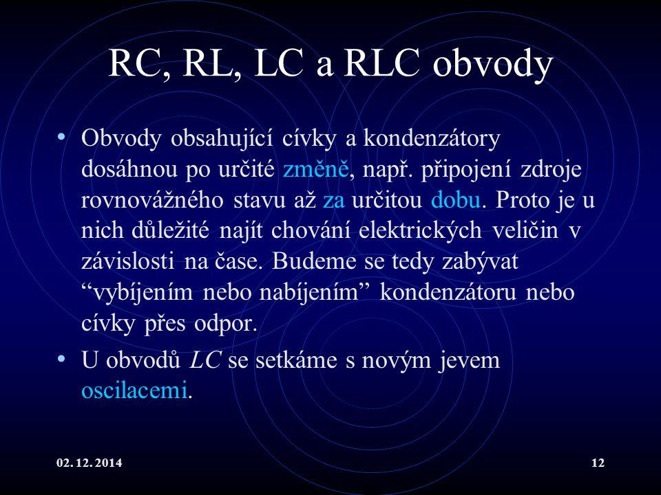 RC, RL, LC a RLC obvody