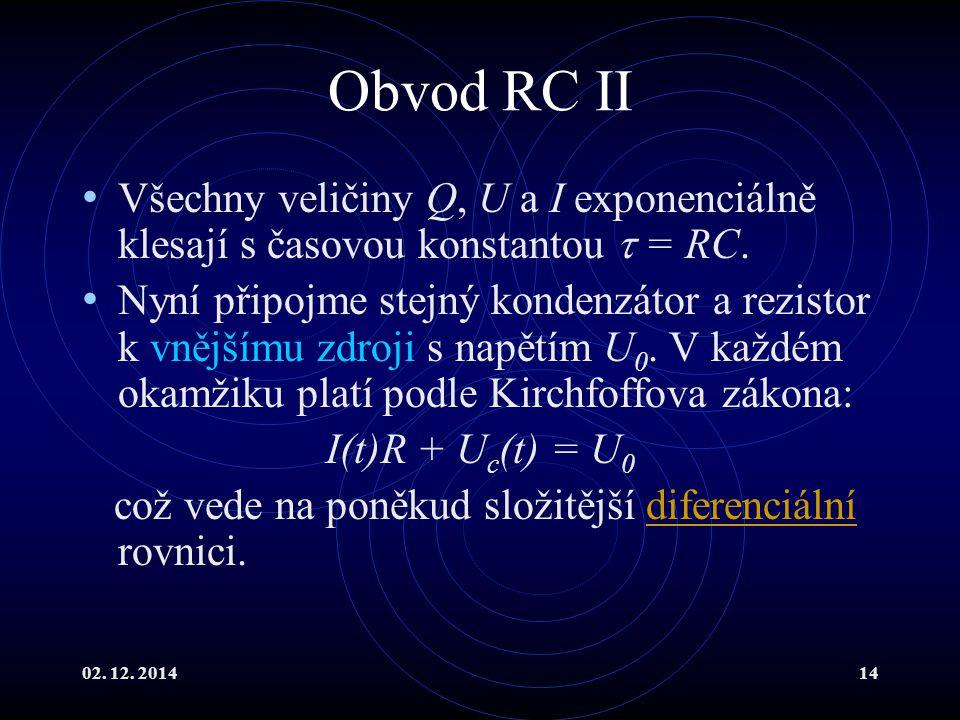 Obvod RC II Všechny veličiny Q, U a I exponenciálně klesají s časovou konstantou  = RC.
