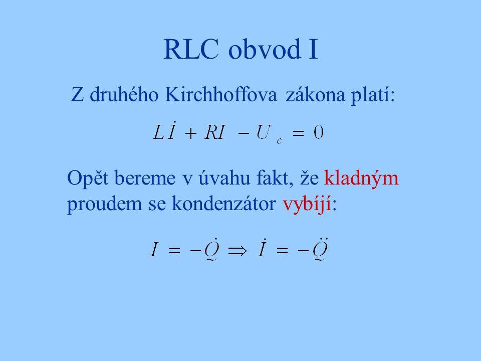 RLC obvod I Z druhého Kirchhoffova zákona platí: