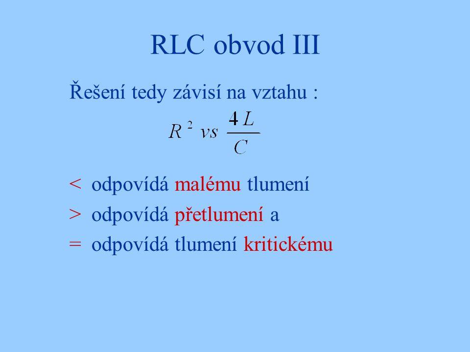 RLC obvod III Řešení tedy závisí na vztahu :