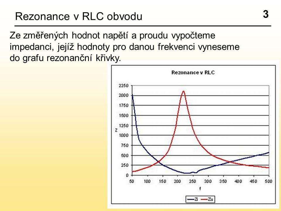 3 Rezonance v RLC obvodu Ze změřených hodnot napětí a proudu vypočteme