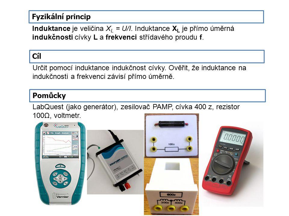 Fyzikální princip Induktance je veličina XL = U/I. Induktance XL je přímo úměrná indukčnosti cívky L a frekvenci střídavého proudu f.