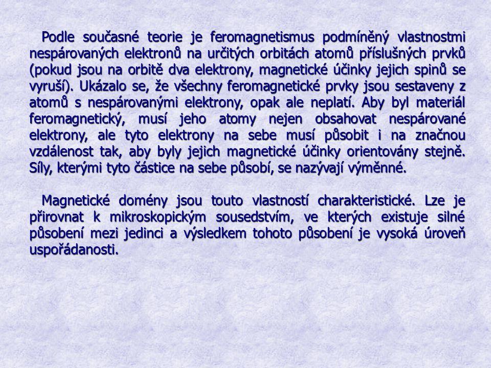 Podle současné teorie je feromagnetismus podmíněný vlastnostmi nespárovaných elektronů na určitých orbitách atomů příslušných prvků (pokud jsou na orbitě dva elektrony, magnetické účinky jejich spinů se vyruší). Ukázalo se, že všechny feromagnetické prvky jsou sestaveny z atomů s nespárovanými elektrony, opak ale neplatí. Aby byl materiál feromagnetický, musí jeho atomy nejen obsahovat nespárované elektrony, ale tyto elektrony na sebe musí působit i na značnou vzdálenost tak, aby byly jejich magnetické účinky orientovány stejně. Síly, kterými tyto částice na sebe působí, se nazývají výměnné.