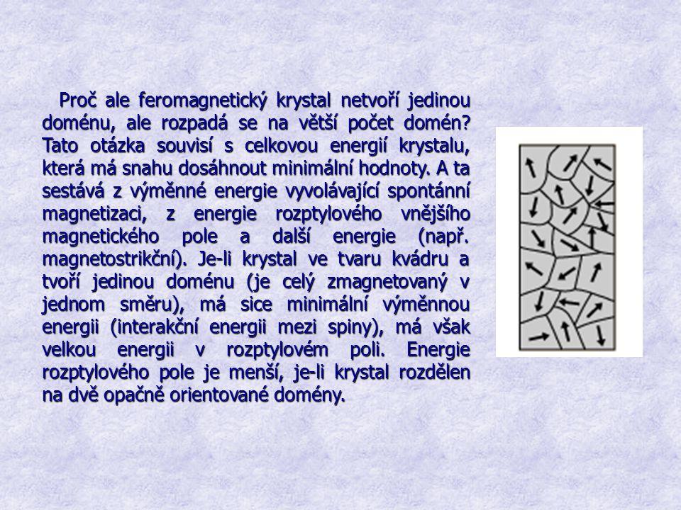 Proč ale feromagnetický krystal netvoří jedinou doménu, ale rozpadá se na větší počet domén.