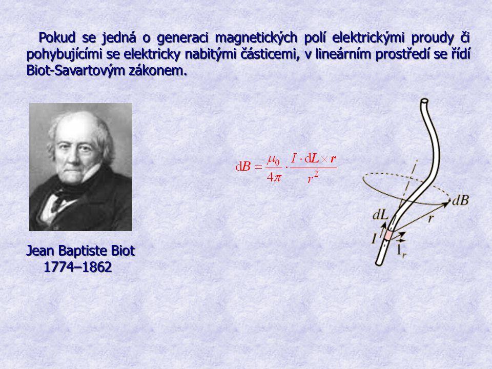 Pokud se jedná o generaci magnetických polí elektrickými proudy či pohybujícími se elektricky nabitými částicemi, v lineárním prostředí se řídí Biot-Savartovým zákonem.