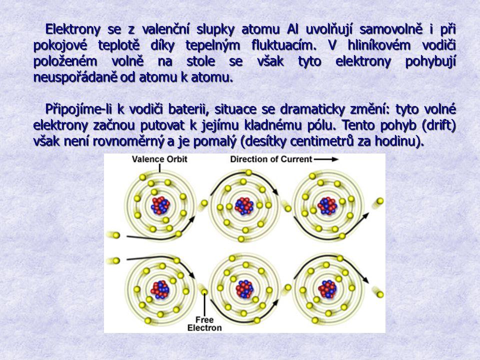 Elektrony se z valenční slupky atomu Al uvolňují samovolně i při pokojové teplotě díky tepelným fluktuacím. V hliníkovém vodiči položeném volně na stole se však tyto elektrony pohybují neuspořádaně od atomu k atomu.