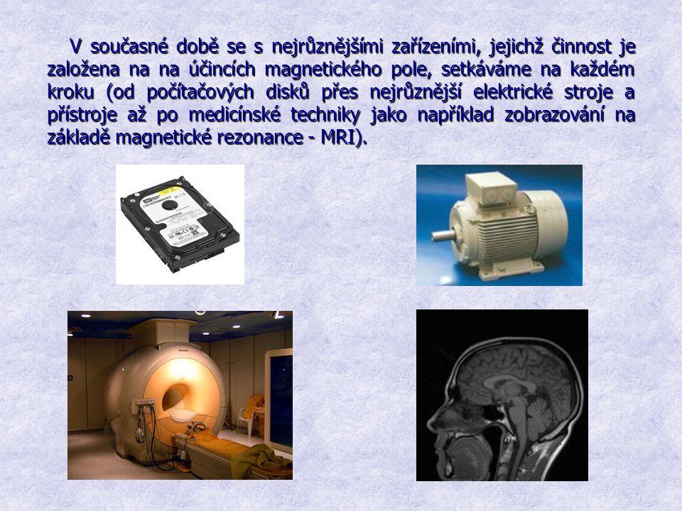 V současné době se s nejrůznějšími zařízeními, jejichž činnost je založena na na účincích magnetického pole, setkáváme na každém kroku (od počítačových disků přes nejrůznější elektrické stroje a přístroje až po medicínské techniky jako například zobrazování na základě magnetické rezonance - MRI).
