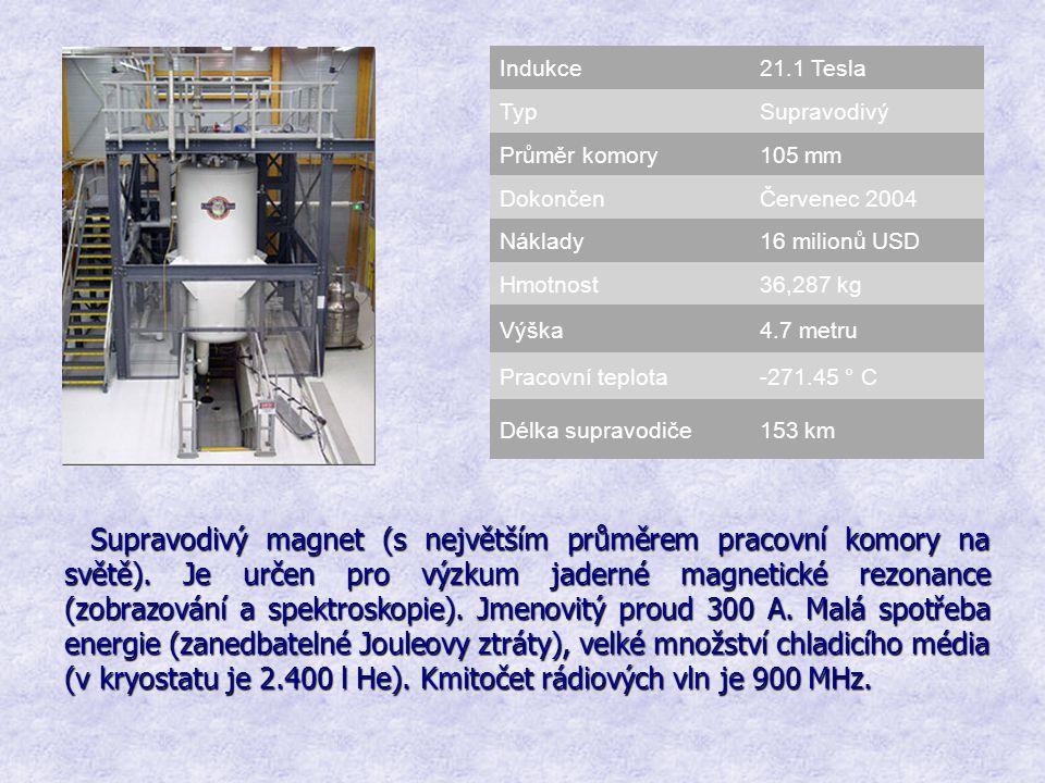 Indukce 21.1 Tesla. Typ. Supravodivý. Průměr komory. 105 mm. Dokončen. Červenec 2004. Náklady.