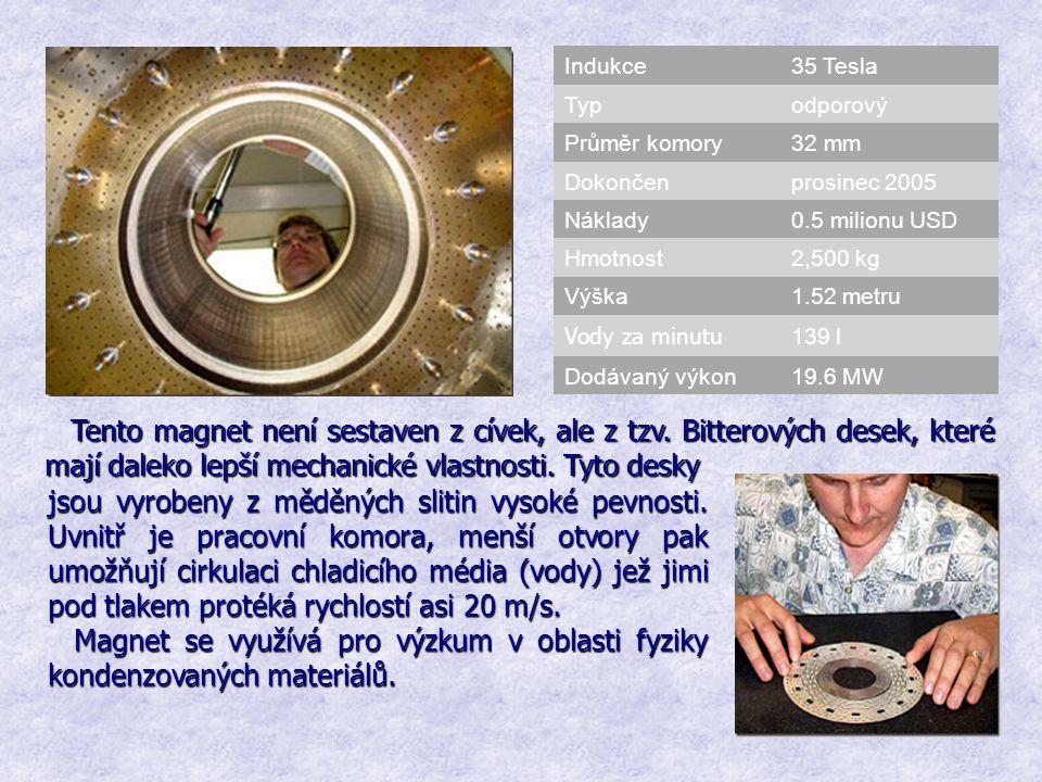 Indukce 35 Tesla. Typ. odporový. Průměr komory. 32 mm. Dokončen. prosinec 2005. Náklady. 0.5 milionu USD.
