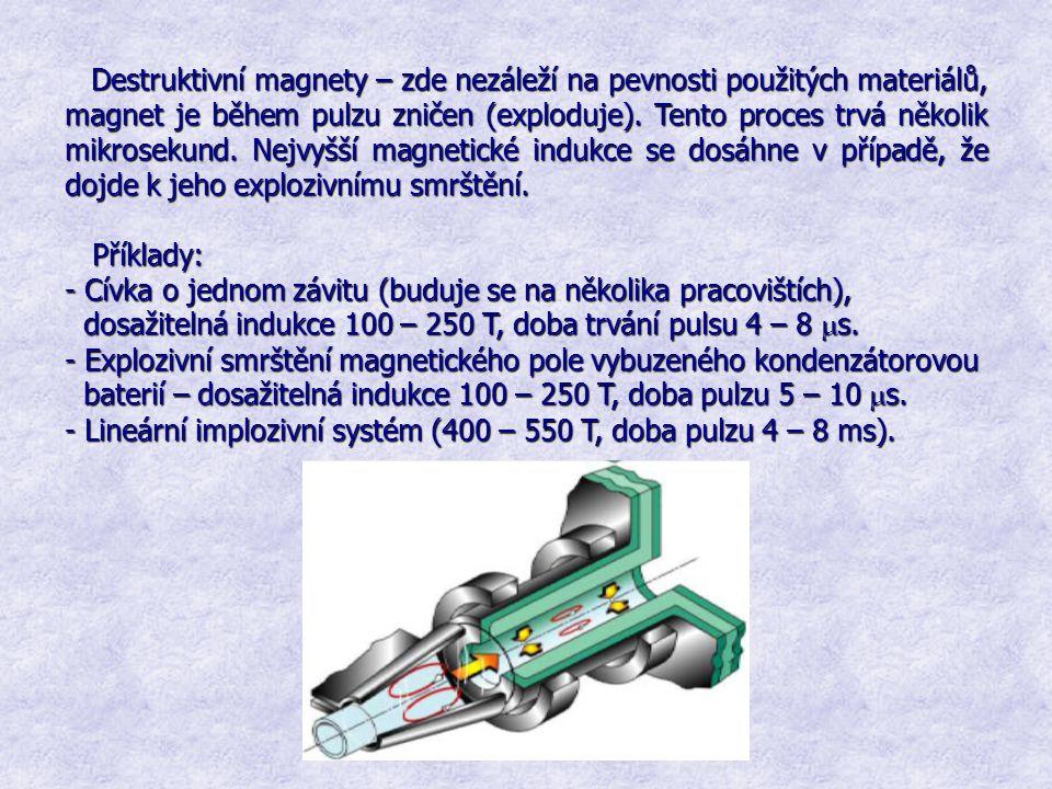 Destruktivní magnety – zde nezáleží na pevnosti použitých materiálů, magnet je během pulzu zničen (exploduje). Tento proces trvá několik mikrosekund. Nejvyšší magnetické indukce se dosáhne v případě, že dojde k jeho explozivnímu smrštění.