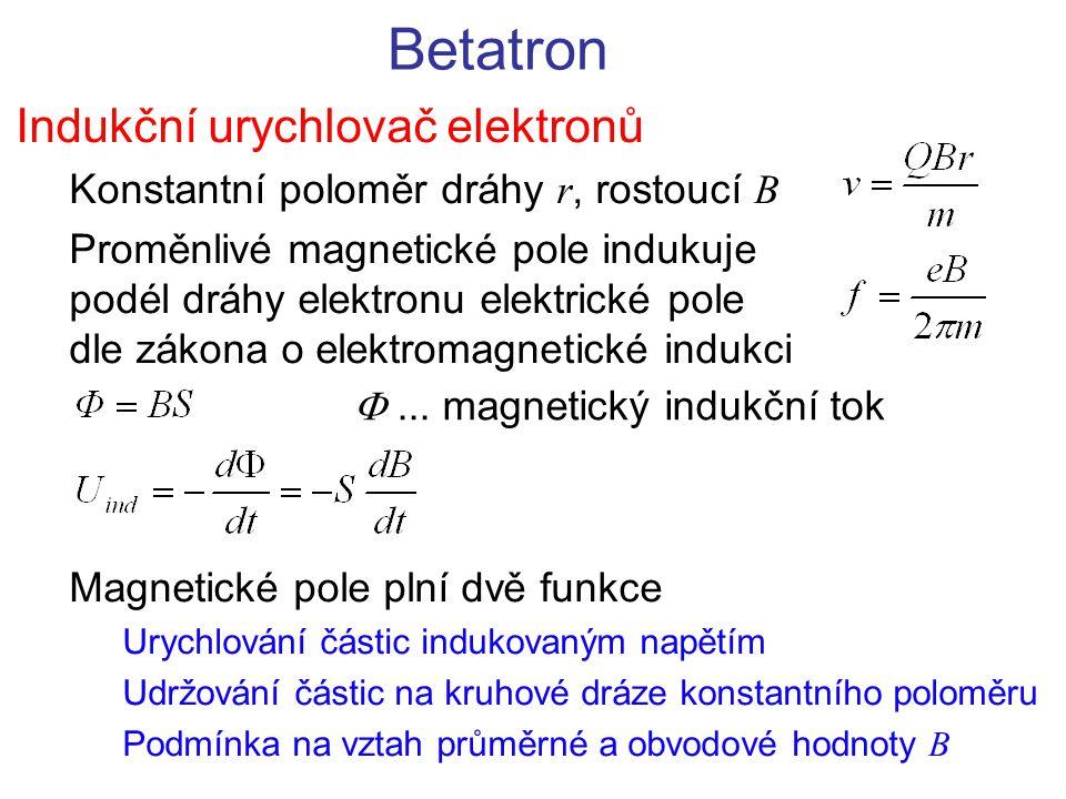 Betatron Indukční urychlovač elektronů