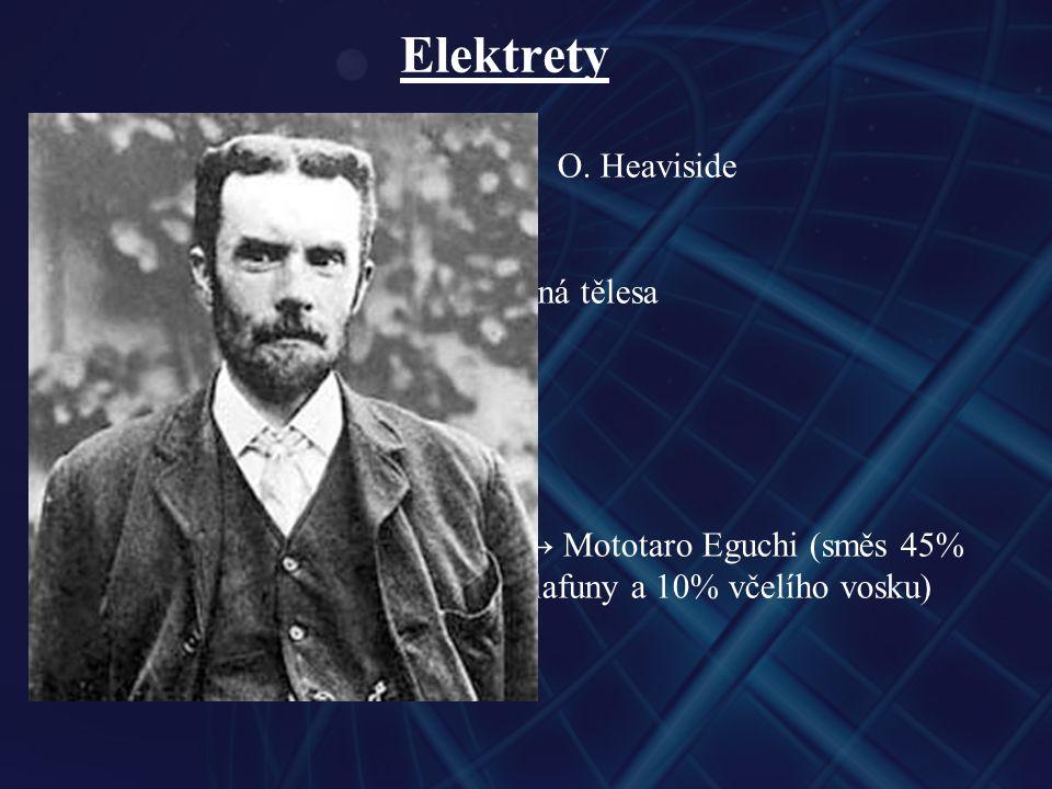 Elektrety teoretická předpověď → 1896 O. Heaviside