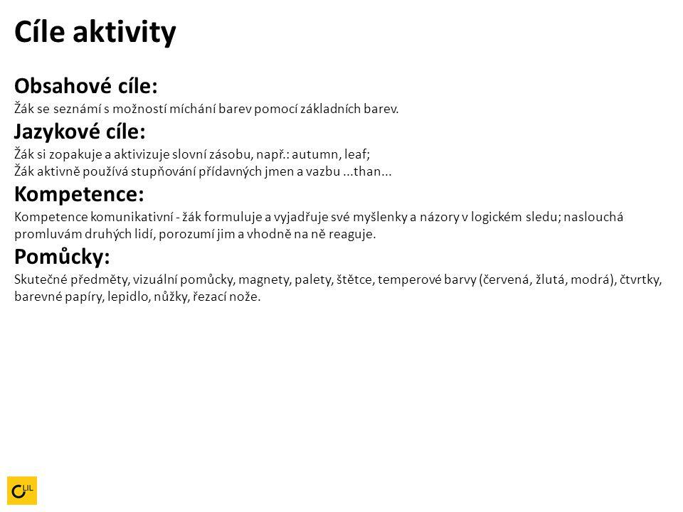 Cíle aktivity Obsahové cíle: Žák se seznámí s možností míchání barev pomocí základních barev. Jazykové cíle: Žák si zopakuje a aktivizuje slovní zásobu, např.: autumn, leaf;