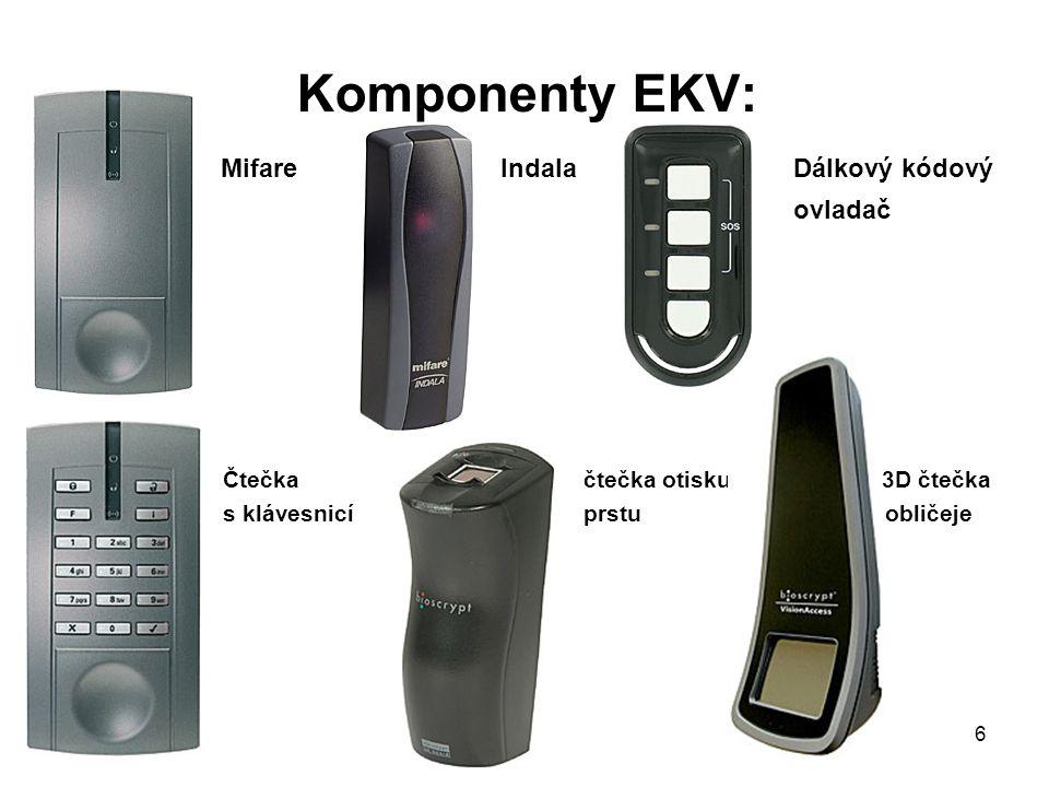 Komponenty EKV: Mifare Indala Dálkový kódový ovladač