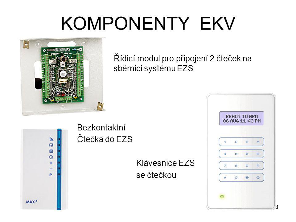 KOMPONENTY EKV Řídicí modul pro připojení 2 čteček na sběrnici systému EZS. Bezkontaktní. Čtečka do EZS.