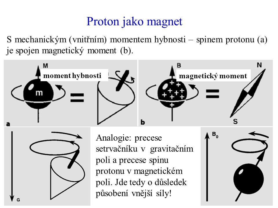 Proton jako magnet S mechanickým (vnitřním) momentem hybnosti – spinem protonu (a) je spojen magnetický moment (b).
