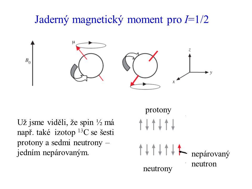 Jaderný magnetický moment pro I=1/2