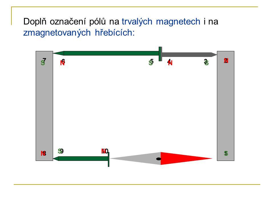 Doplň označení pólů na trvalých magnetech i na zmagnetovaných hřebících: