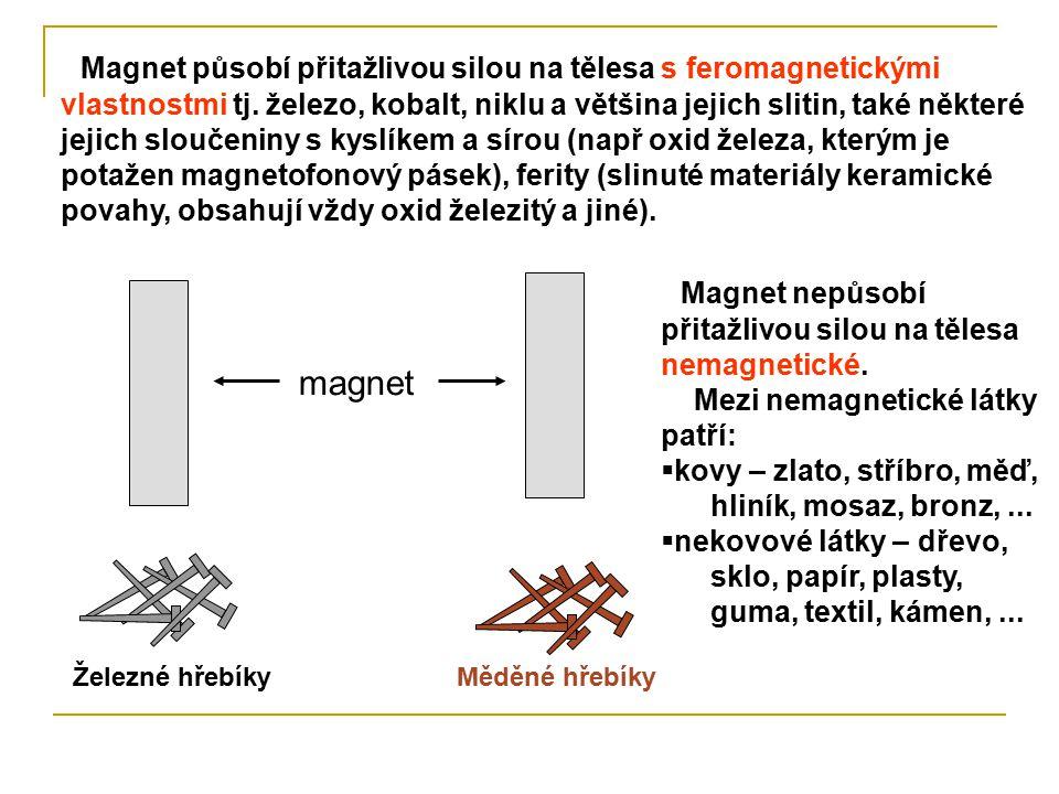 Magnet nepůsobí přitažlivou silou na tělesa nemagnetické.