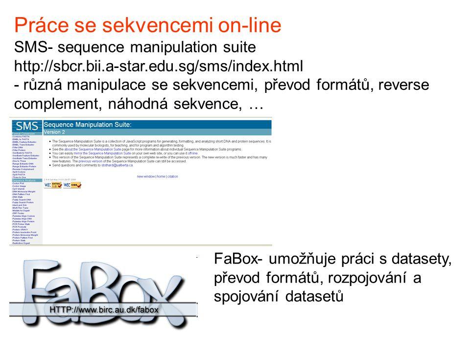 Práce se sekvencemi on-line