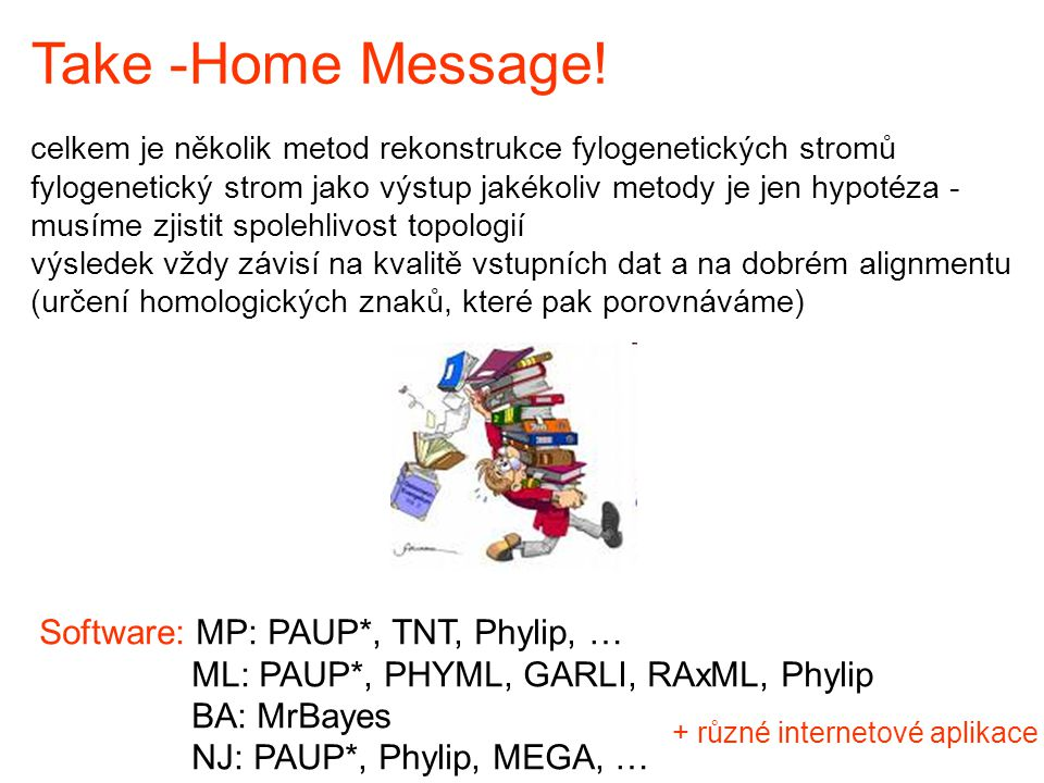 Take -Home Message! Software: MP: PAUP*, TNT, Phylip, …
