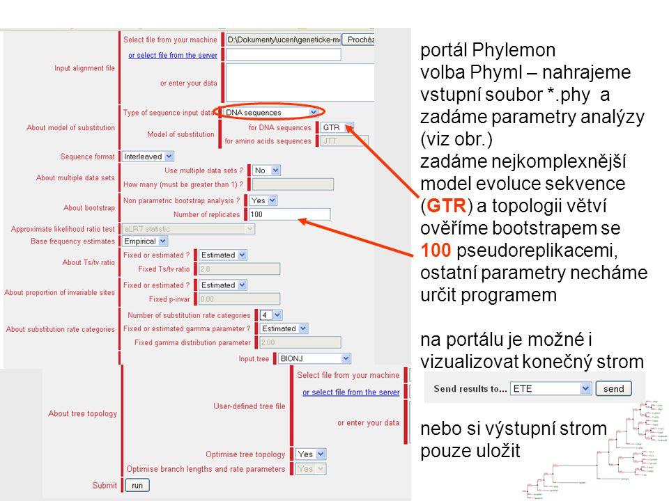 portál Phylemon volba Phyml – nahrajeme vstupní soubor *.phy a zadáme parametry analýzy (viz obr.)