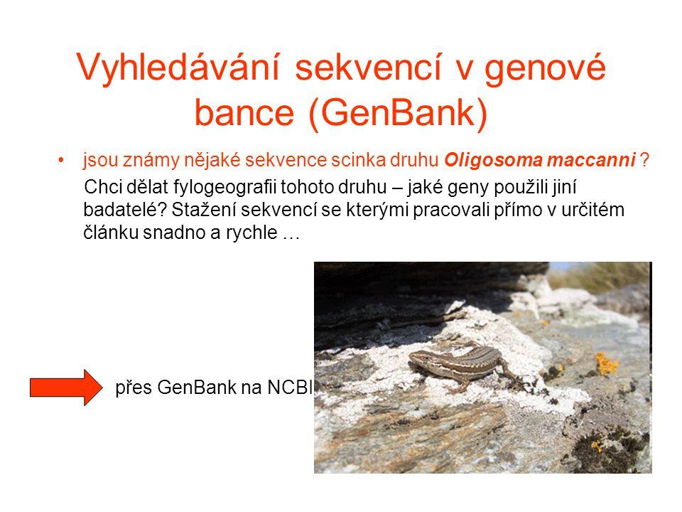 Vyhledávání sekvencí v genové bance (GenBank)