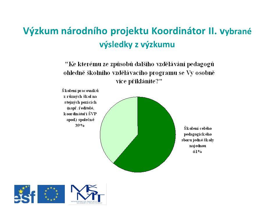 Výzkum národního projektu Koordinátor II. vybrané výsledky z výzkumu