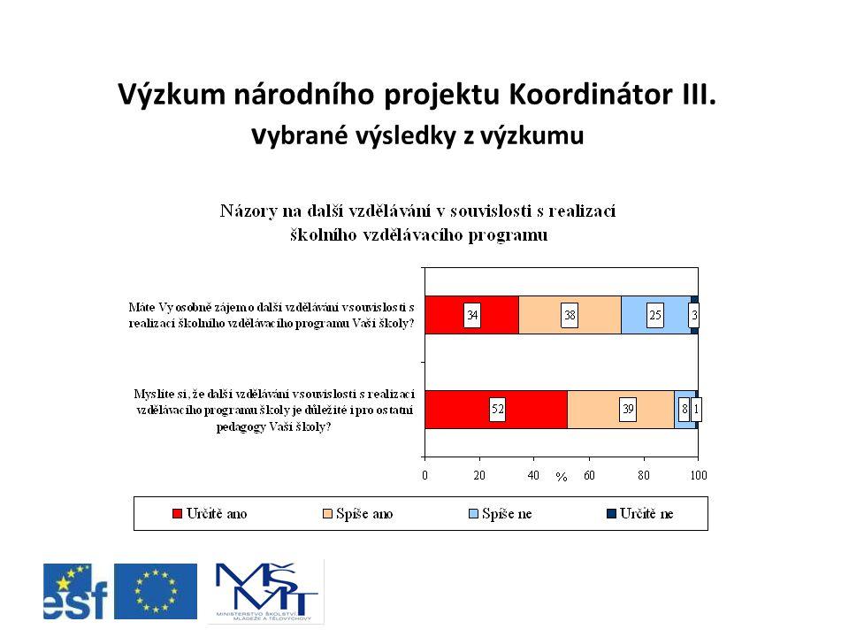 Výzkum národního projektu Koordinátor III. vybrané výsledky z výzkumu